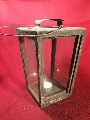 ANTIQUE 1800-s WOOD + GLASS CANDLE LANTERN SCANDINAVIA EUROPE