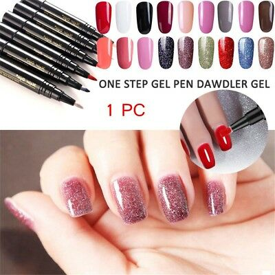 One Step Gel Lacquer Nail Painting Varnish Pen 3 In1Colors Nail Gel Polish