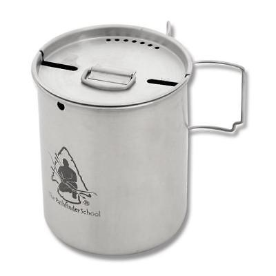 Pathfinder 25Oz Stainless Steel Cup & Lid Set Bushcraft Pot Camp Cooking