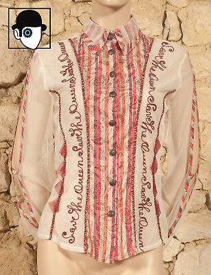 'Save The Queen' Embroidered & Applique Mesh Shirt - Uk 12 - (Z)