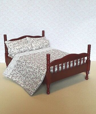 wooden bedboard included Quality 1:24 scale Dolls House Single Bed Kit  DS08
