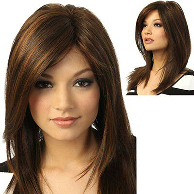 Brown Girl Natural Party Wig Long Full Straight Hair Fashion Synthetic Wig Super