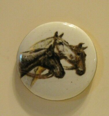 Very Nice Ceramic Button Three Horse Heads Facing Right