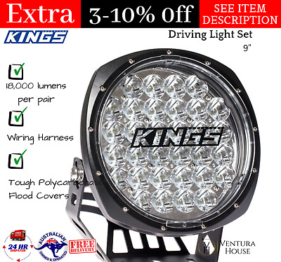 "Portable 9"" Driving Light Set 18,000 lumens with Wiring Harness-Adventure Kings"
