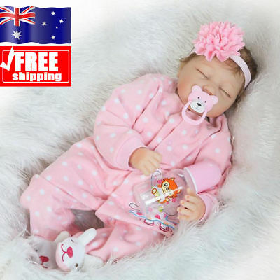 "22"" Reborn Baby Doll Lifelike Soft Silicone Realistic Real Life Dolls Xmas Gift"