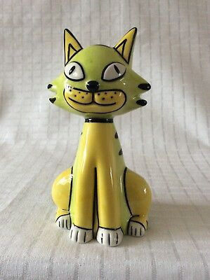 Lorna Bailey Old Ellgreave Pottery Signed Yellow & Green Sitting Cat - signed.