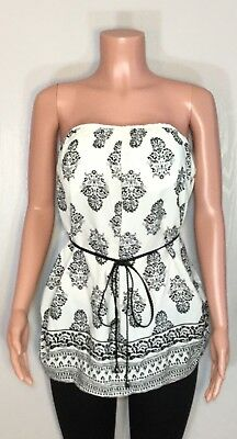 4614fb79919e04 New Womens Plus Size 1X White Black Floral Belted Top Strapless