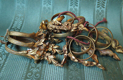 TWO LOTS OF ANTIQUE FRENCH GILT BRASS CURTAIN RINGS - lots of 10 and 3