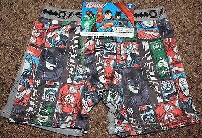 NEW boy JUSTICE LEAGUE 2-pr BOXER BRIEFS character ATHLETIC moisture wick SZ 8