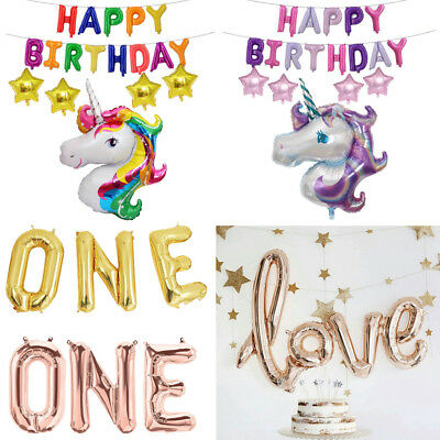 Unicorn Birthday Balloon Banner Bunting Inflating Love Foil Balloons Party