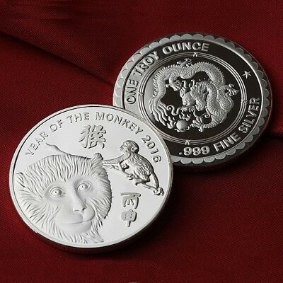 2016 Year of the Monkey 1 oz .999 Fine Silver Round Coin  NEW!