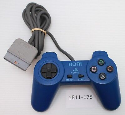 [Free ship] PS1 Controller Blue HORI PAD II Official Work Japan