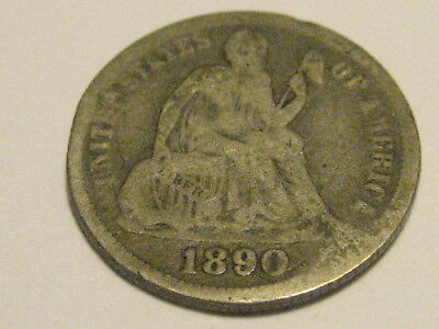1890-P Seated Liberty Dime Good