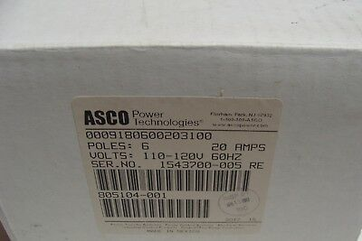 ASCO 6 Pole Lighting Contactor 918  w/ 120v Coil 20 Amp NEW in BOX