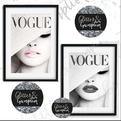 Fashion Vogue Print, Vogue Cover,pink or grey beauty room wall decor art print