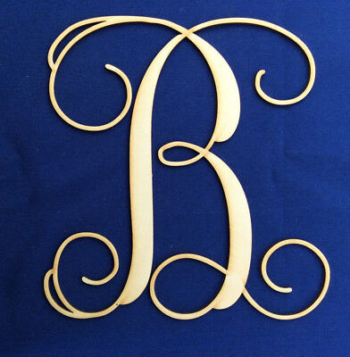 """Wood Letter Unfinished 8/"""" tall Curly Letter /""""B/"""" Made In The USA"""