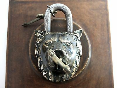 Vintage Antique Style Hand Made Solid Brass Lion Padlock