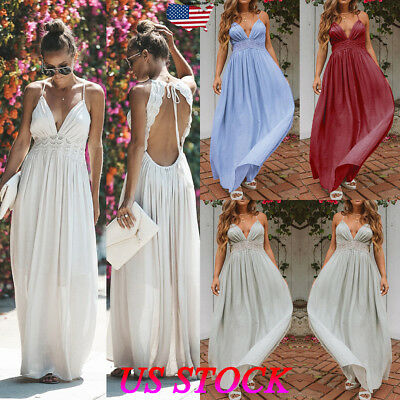 Women Maxi Boho Backless Summer Long Skirt Evening Holiday Beach Party Sun Dress