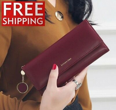 Womens Wallets Leather Long Clutch Card Holder Genuine Lady Purse Ladies New Bag