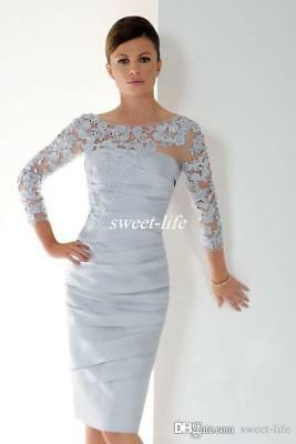 Elegant Silver Short Mother Of The Bride Dresses 3 4 Sleeves Lace Evening Dress