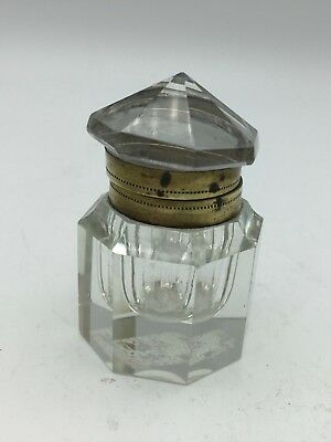 Antique Cut Glass Inkwell circa 1850
