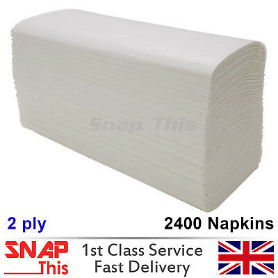 Luxury Z Fold White Paper Hand Towels 2 ply Disposable MultiFold 2400 Napkins UK