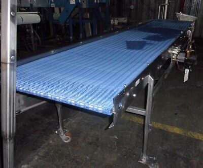 34 Inch X 167 Inch Stainless Steel Sanitary Blue Intralox Belt Conveyor