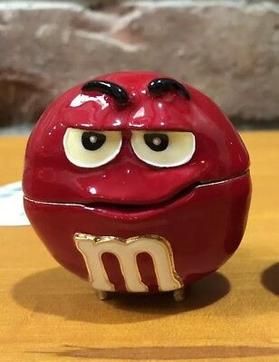 Red M&m Big Face Monet Jewelry Box Enameled New $25.