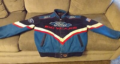 JH Design Ford 100 Years Racing Cotton Twill Black Blue Men's XL Lined Jacket