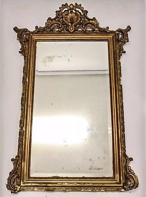 19Th Century Giltwood And Gesso Antique	 Foxing Mirror 164X 107Cm