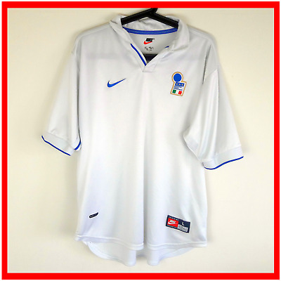 Nike Italy Football Shirt Large Vintage Soccer Jersey White Away 1998 World Cup