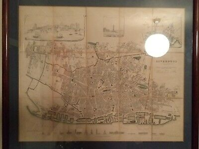 1836 SDUK City Plan of Liverpool, Baldwin & Cradock, dissected & laid on linen