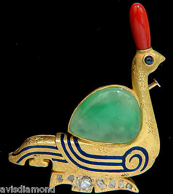 22Kt Ancient Egyptian Revival Jade Coral Diamond Swan Hieroglyphics Brooch Pin+