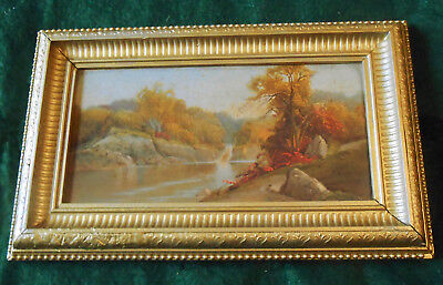 """1860s Prang Chromolithograph """"Central Park Views, Waterfall"""" in Original Frame"""