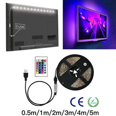 RGB LED Strip Light Bar 5V 5050 60Chip/M TV Back Lighting Kit+USB Remote Control