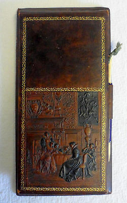 Vintage 1920s Leather Bridge Score Pad w/Ornate Victorian Scene/Card Games
