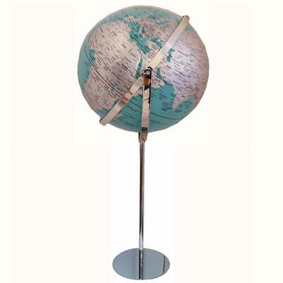 World Globe Teal Chrome Raised Relief Embossed Educational Floor Standing Gift