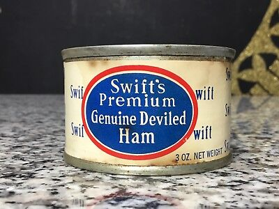 Vintage 1940s Swift's Deviled Ham Unopened Grocery Advertising Tin Food Can