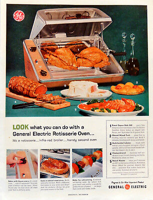 Vintage 1959 GE General Electric Rotisserie Oven advertisement print ad art