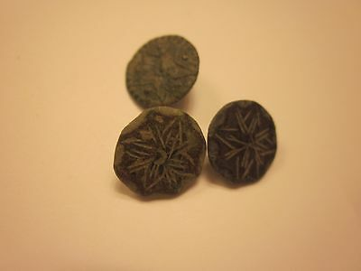 BUTTONS 17th CENTURY ANTIQUE BRONZE BUTTON SET OF 3 COLLECTION SEWING #726