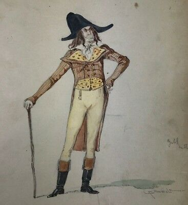 Antique Early Broadway CAROLINE F. SIEDLE COSTUME DESIGN Original Painting 1900s