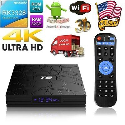 T9 4K Android 8.1 TV BOX RK3328 Quad Core 4GB/32GB USB 3.0 WiFi 3D Media BT4.0