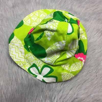 Vintage 1960s Nalii Honolulu Barkcloth Green Pink Childrens Sun Hat