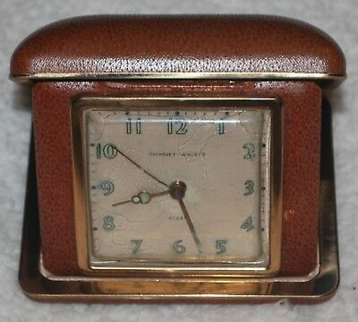 Phinney-Walker travel alarm clock Germany Wind Up Vintage Works Red leather Mint