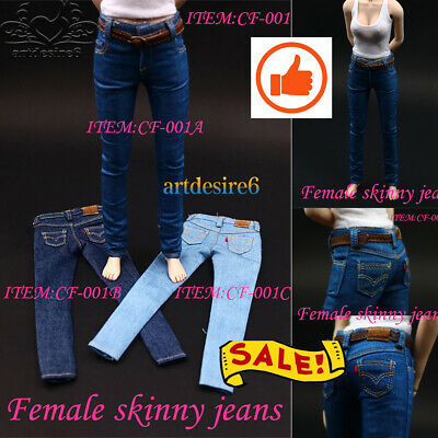 """HOT FIGURE TOYS 1/6 Women's skinny jeans CF001 Pants Fit 12"""" Body Action Figure"""