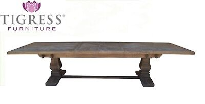 """Tuscany"" Distressed Grey Solid Hardwood 258cm-348cm Extension Dining Table"