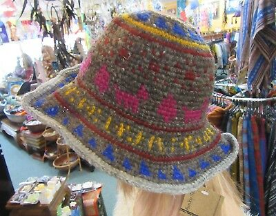 Nepalese Handmade Adjustable Woolen Bucket Sun Hat