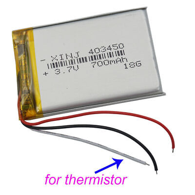 3.7V 700 mAh 3 wires thermistor Polymer Li po Battery For DVD GPS Camerea 403450