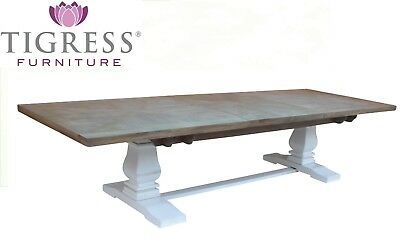 """Tuscany"" Grey & White Pedestal Hardwood 258cm-348cm Extension Dining Table"