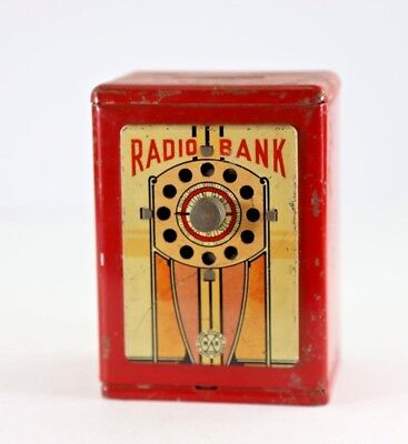 Vintage 1920's Marx Radio Bank with Working Dial and Original Finish